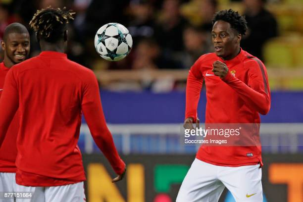 Terence Kongolo of AS Monaco during the warming up during the UEFA Champions League match between AS Monaco v RB Leipzig at the Stade Louis II on...