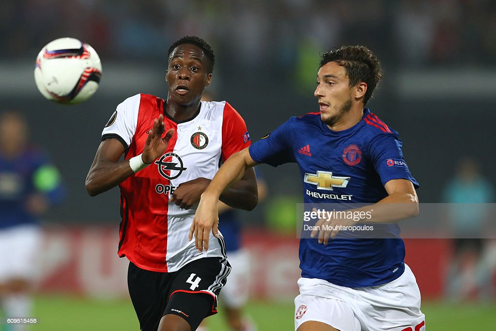 Terence Kongolo of Feyenoord and Matteo Darmian of Manchester United compete for the ball during the UEFA Europa League Group A match between Feyenoord and Manchester United FC at Feijenoord Stadion on September 15, 2016 in Rotterdam, .