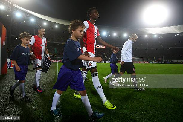 Terence Kongolo of Feyenoord makes his way onto the pitch during to the UEFA Europa League match between Feyenoord and FC Zorya Luhansk at De Kuip on...