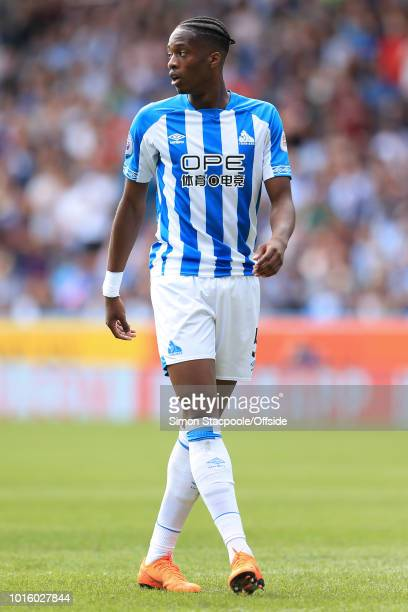 Terence Kongolo of Huddersfield looks on during the Premier League match between Huddersfield Town and Chelsea at the John Smith's Stadium on August...