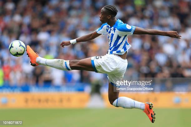 Terence Kongolo of Huddersfield stretches for the ball during the Premier League match between Huddersfield Town and Chelsea at the John Smith's...