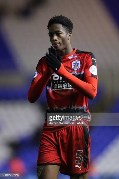 Terence Kongolo of Huddersfield Town applauds the fans during The Emirates FA Cup Fourth Round Replay at St Andrews on February 6 2018 in Birmingham...