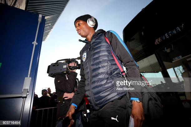 Terence Kongolo of Huddersfield Town arrives at the stadium prior to the Premier League match between West Bromwich Albion and Huddersfield Town at...