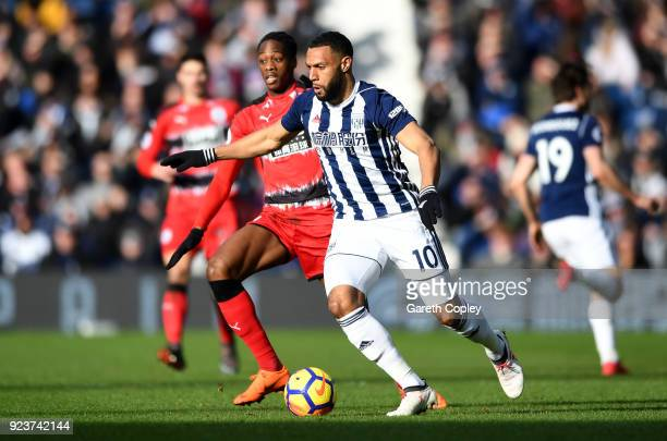 Terence Kongolo of Huddersfield Town confronts Matt Phillips of West Bromwich Albion during the Premier League match between West Bromwich Albion and...