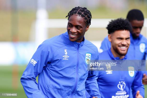Terence Kongolo of Huddersfield Town during Danny and Nicky Cowley's first training session for Huddersfield Town at PPG Canalside on September 10,...