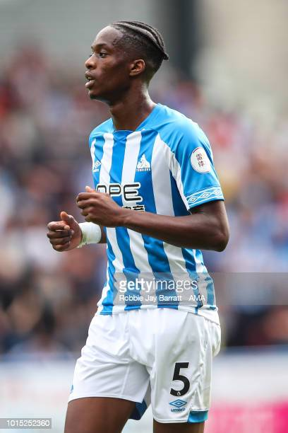Terence Kongolo of Huddersfield Town during the Premier League match between Huddersfield Town and Chelsea FC at John Smith's Stadium on August 11...