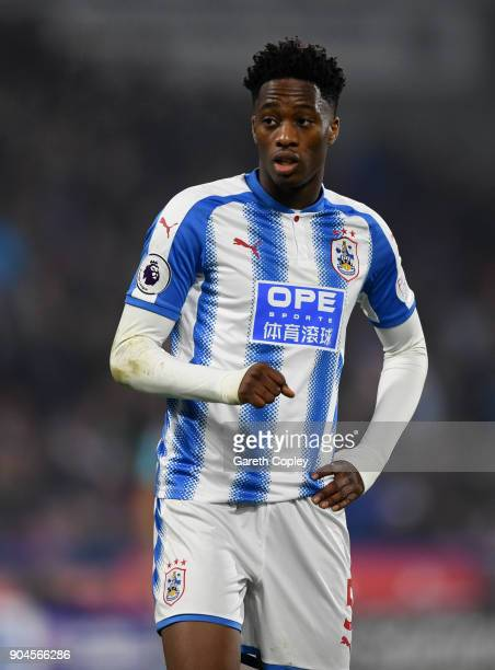 Terence Kongolo of Huddersfield Town during the Premier League match between Huddersfield Town and West Ham United at John Smith's Stadium on January...