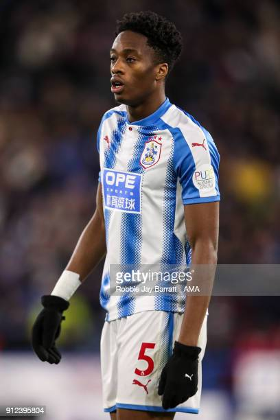 Terence Kongolo of Huddersfield Town during the Premier League match between Huddersfield Town and Liverpool at John Smith's Stadium on January 30...
