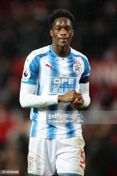 Terence Kongolo of Huddersfield Town during the Premier League match between Manchester United and Huddersfield Town at Old Trafford on February 3...