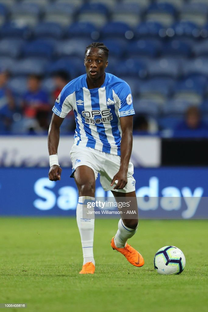Terence Kongolo of Huddersfield Town during the pre-season friendly between Huddersfield Town and Olympique Lyonnais at John Smith's Stadium on July 25, 2018 in Huddersfield, England.