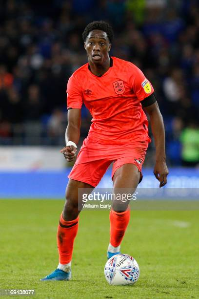 Terence Kongolo of Huddersfield Town during the Sky Bet Championship match between Cardiff City and Huddersfield Town at Cardiff City Stadium on...