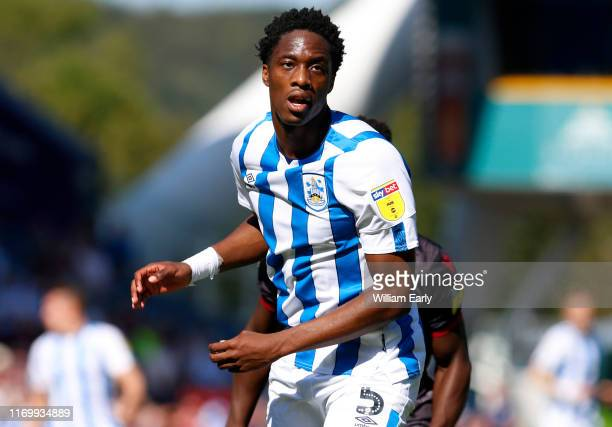 Terence Kongolo of Huddersfield Town during the Sky Bet Championship match between Huddersfield Town and Reading at John Smith's Stadium on August...