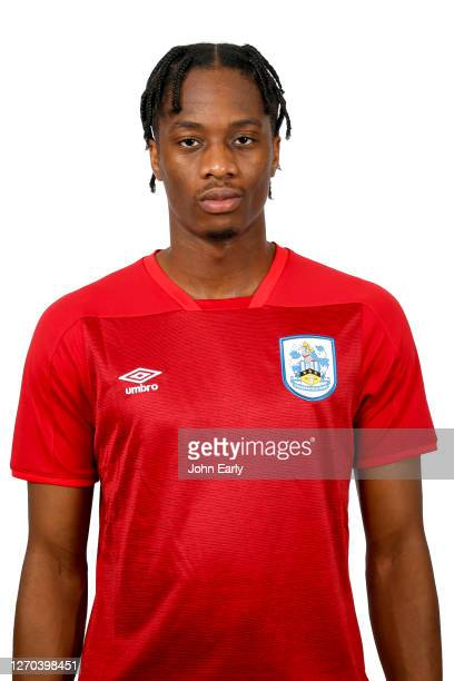 Terence Kongolo of Huddersfield Town in the alternate kit for the 2020/21 season on August 31, 2020 in Huddersfield, England.