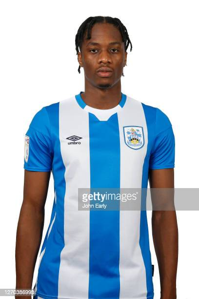 Terence Kongolo of Huddersfield Town in the home kit for the 2020/21 season on August 31, 2020 in Huddersfield, England.