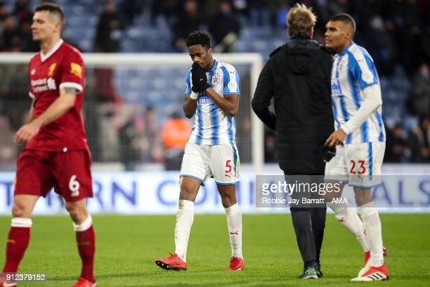 Terence Kongolo of Huddersfield Town reacts at full time during the Premier League match between Huddersfield Town and Liverpool at John Smith's...