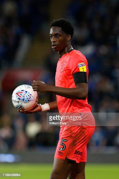 Terence Kongolo of Huddersfield Town takes a throw-in during the Sky Bet Championship match between Cardiff City and Huddersfield Town at Cardiff...
