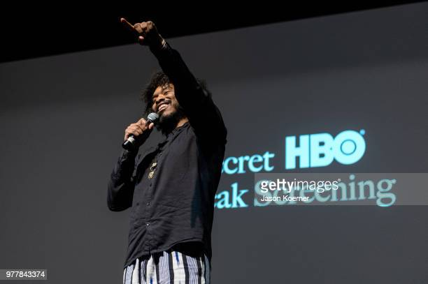 Terence Nance speaks on stage at the Secret HBO Sneak Screening of Random Acts of Flyness at the Colony Theater during the 22nd Annual American Black...