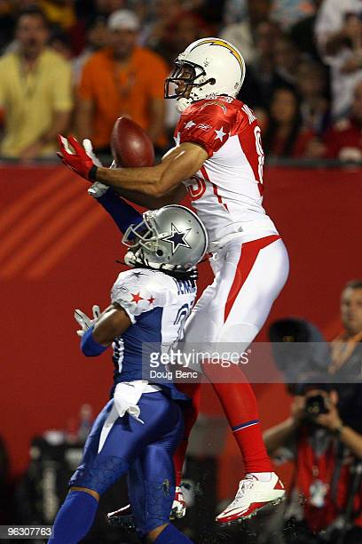 Terence Newman of the Dallas Cowboys breaks up a pass intended for Vincent Jackson of the San Diego Chargers during the 2010 AFCNFC Pro Bowl at Sun...