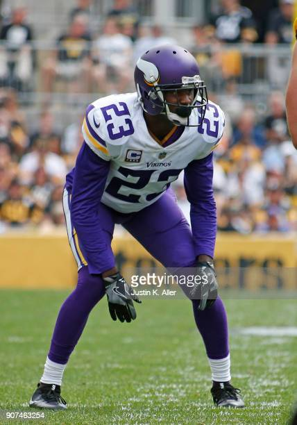 Terence Newman of the Minnesota Vikings in action against the Pittsburgh Steelers on September 17 2017 at Heinz Field in Pittsburgh Pennsylvania