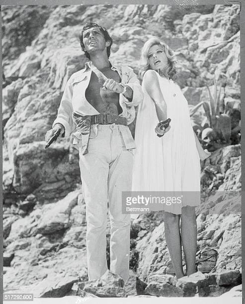 Terence Stamp and Monica Vitti in a scene from the movie 'Modesty Blaise' March 1966 Movie still
