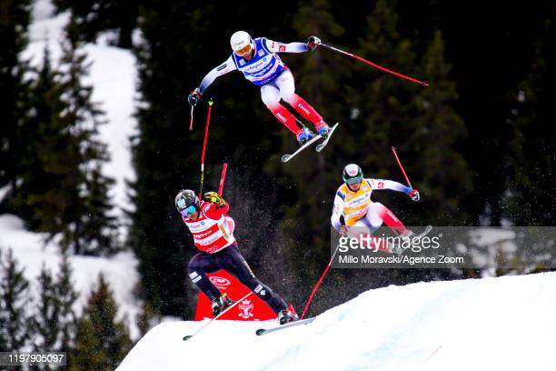 Terence Tchiknavorian of France in action, Kevin Drury of Canada in action, Tom Bonnefond of France in action during the FIS Freestyle Ski World Cup...