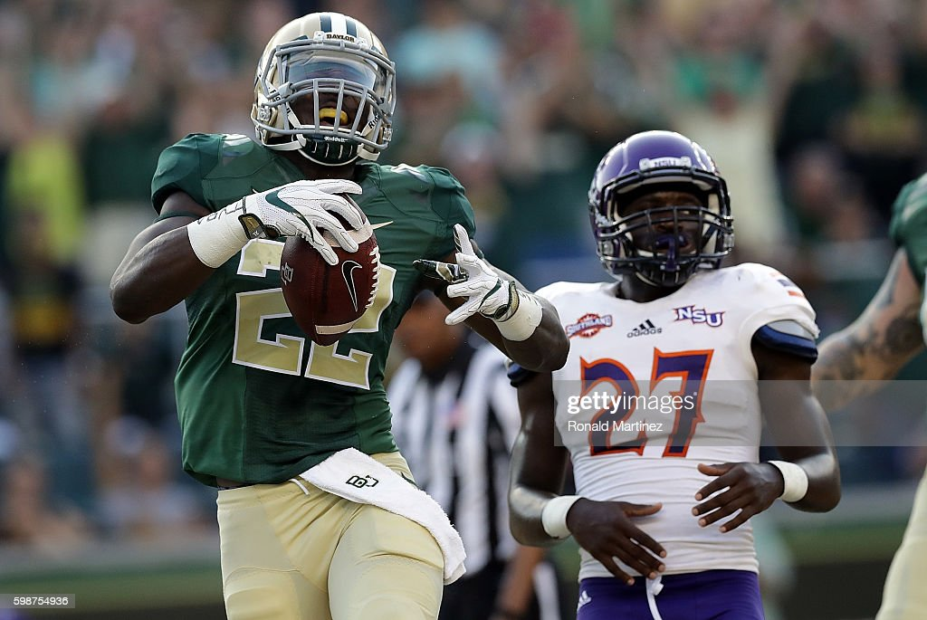 Terence Williams #22 of the Baylor Bears celebrates his touchdown against the Northwestern State Demons in the first half at McLane Stadium on September 2, 2016 in Waco, Texas.