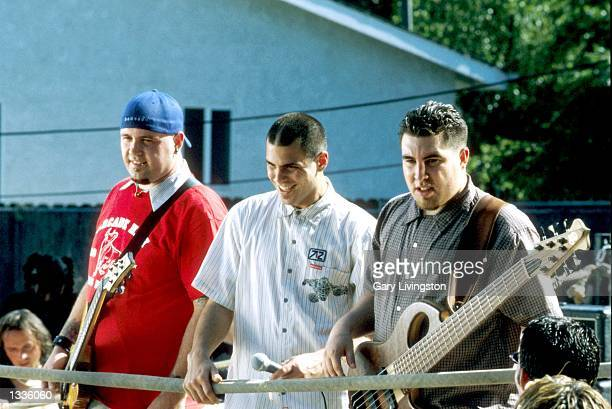 Terence Zamora Dryden Mitchell and Tye Zamora of Alien Ant Farm line up for director Mark Klasfield during the filming of their upcoming music video...