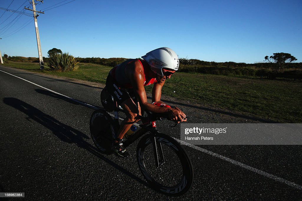 Terenzo Bozzone of Auckland competes in the Elite Men's race during the Port of Tauranga Half Ironman on January 5, 2013 in Tauranga, New Zealand.