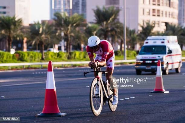 Terenzo Bozzone of New Zealand competes during the bike leg of IRONMAN 703 Middle East Championship Bahrain on November 25 2017 in Bahrain Bahrain