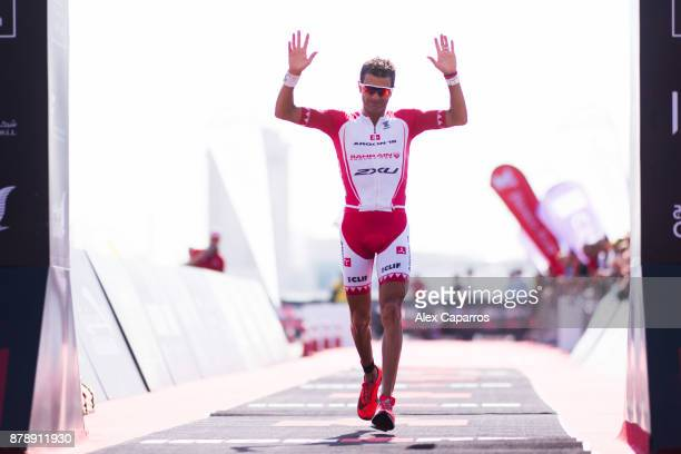 Terenzo Bozzone of New Zealand reacts as he finishes in 2nd place the men's race of IRONMAN 703 Middle East Championship Bahrain on November 25 2017...