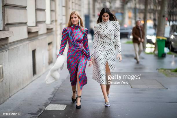 Teresa Andres Gonzalvo and Marta Lozano wearing dress is seen outside Alessandra Rich during Paris Fashion Week - Womenswear Fall/Winter 2020/2021 :...