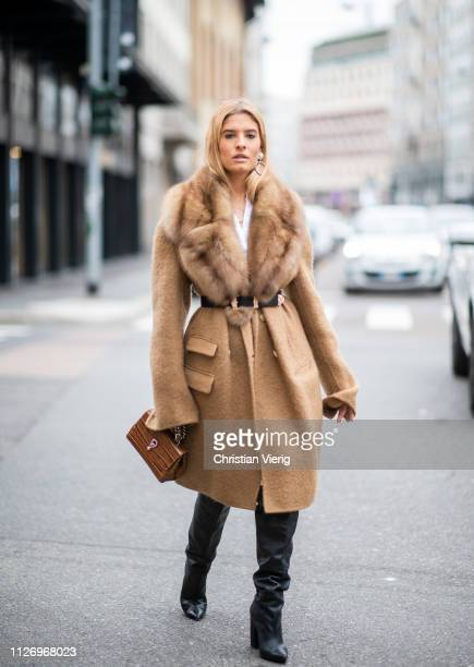 Teresa Andres Gonzalvo attends the Ermanno Scervino show at Milan Fashion Week Autumn/Winter 2019/20 on February 23, 2019 in Milan, Italy.