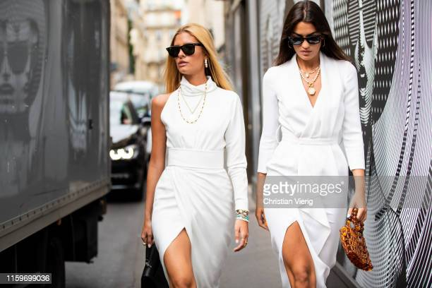 Teresa Andrés Gonzalvo and Marta Lozano is seen outside Ralph & Russo during Paris Fashion Week - Haute Couture Fall/Winter 2019/2020 on July 01,...