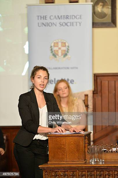 Teresa Baron during a debate at The Cambridge Union on October 15 2015 in Cambridge United Kingdom The Cambridge Union were dabting 'This House...