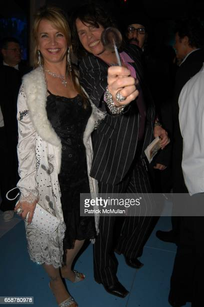 Teresa Barrick and Steven Tyler attend the 2004 Vanity Fair Oscar Party at Mortons on February 29 2004 in Beverly Hills California