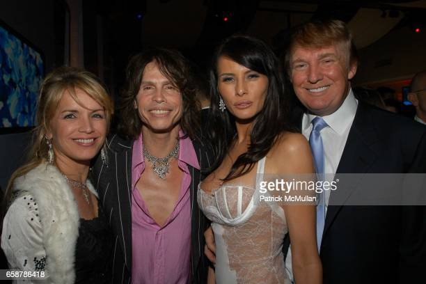 Teresa Barrick Steven Tyler Melania Knauss and Donald Trump attend the 2004 Vanity Fair Oscar Party at Mortons on February 29 2004 in Beverly Hills...