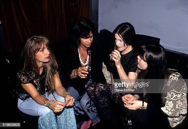 Teresa Barrick Steven Tyler of Aerosmith Liv Tyler and Mia Tyler Celebrate Joan Rivers Gossip Party at Club USA New York April 28 1993
