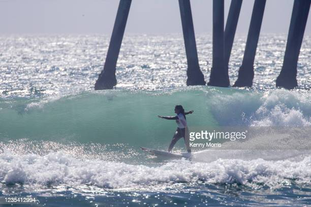 Teresa Bonvalot of Portugal surfs in Heat 1 of the Round of 64 at the US Open of Surfing Huntington Beach presented by Shiseido on September 21, 2021...