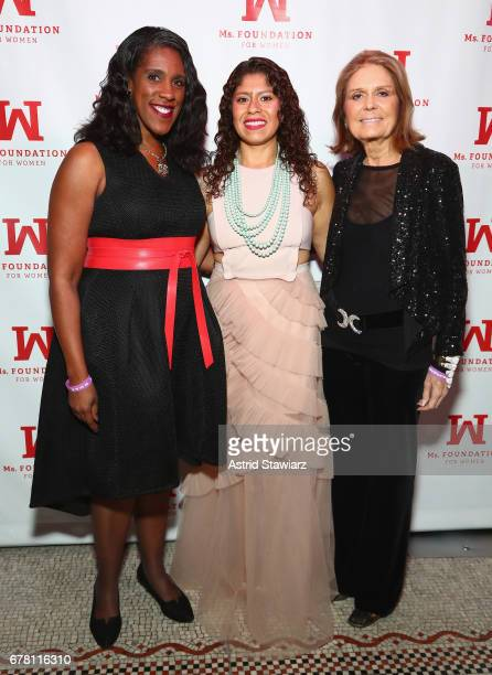 Teresa C. Younger, Tannia Esparza, and Gloria Steinem attend the Ms. Foundation for Women 2017 Gloria Awards Gala & After Party at Capitale on May 3,...