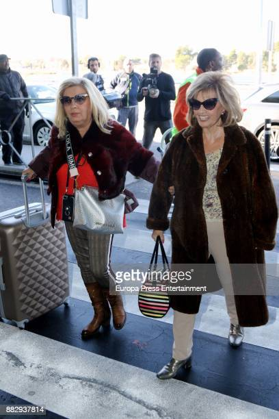 Teresa Campos and her daughter Carmen Borrego are seen at the airport to travel to New York where they are going to film a new season of 'Las Campos'...