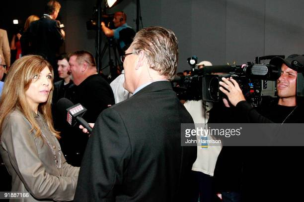 Teresa Earnhardt wife of Dale Earnhardt Sr speaks to the media after the announcement of the Nascar Hall of Fame Inductions on October 14 2009 in...