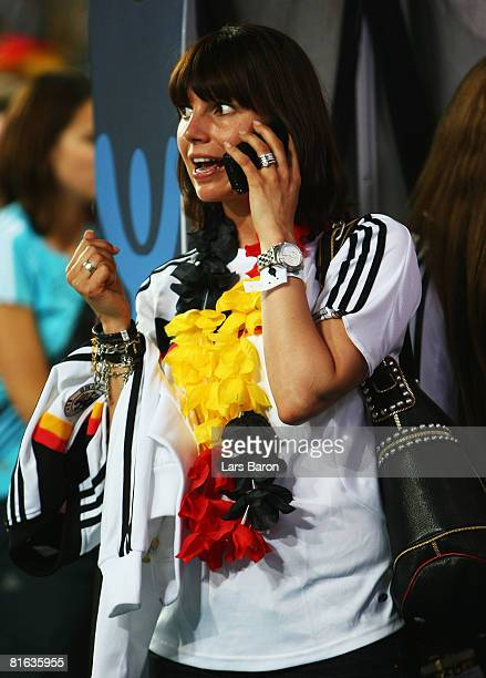 Teresa Enke, wife of Robert Enke talks on the mobile after the UEFA EURO 2008 Quarter Final match between Portugal and Germany at St. Jakob-Park on...