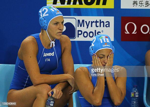 Teresa Frassinetti of Italy sits dejected with team mate Simona Abbate after their 87 defeat in the Women's Water Polo bronze medal match between...