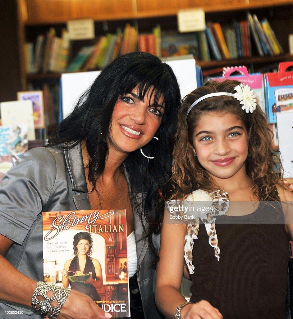 Teresa Giudice and her daughter Gia Giudice promote 'Skinny Italian' at Mendham Books on May 15, 2010 in Mendham, New Jersey.