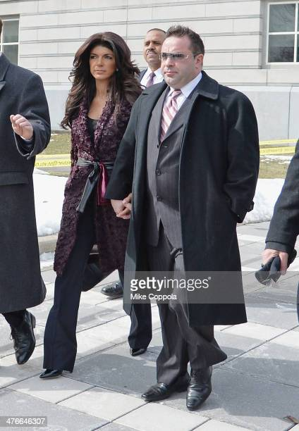 Teresa Giudice and Joe Giudice leave court after facing charges of defrauding lenders illegally obtaining mortgages and other loans as well as...