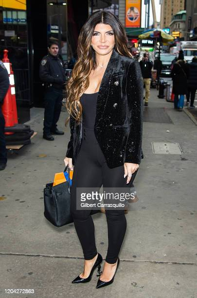 Teresa Giudice is seen arriving to 'Good Morning America' in Times Square on February 05, 2020 in New York City.