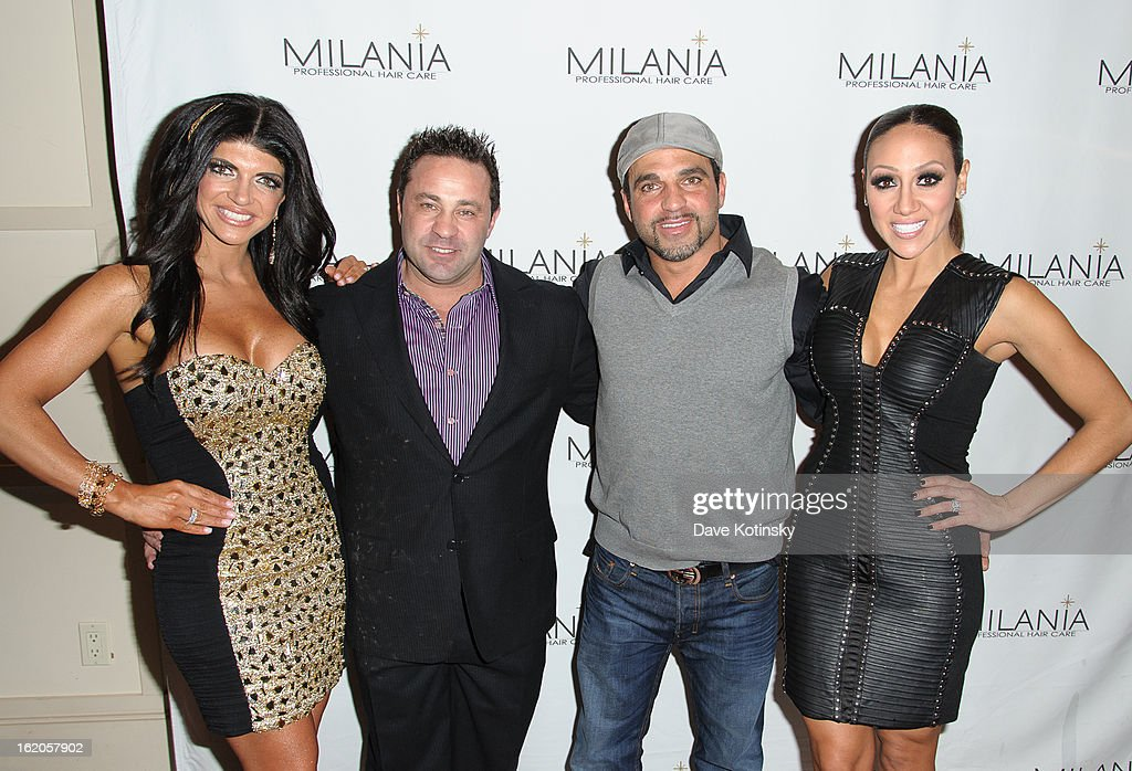 Teresa Giudice, Joe Giudice, Joe Gorga and Melissa Gorga attend the Milania Professional Hair Care Launch Party at Stone House At Stirling Ridge on February 18, 2013 in Warren, New Jersey.