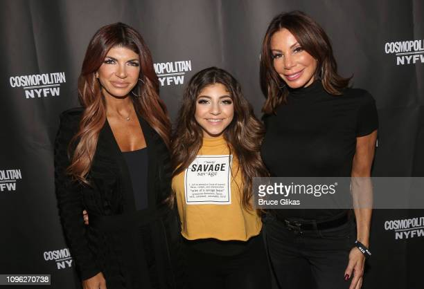 Teresa Giudice Milania Giudice and Danielle Staub pose at the Cosmopolitan New York Fashon Week #Eye Candy event After Party at Planet Hollywood...