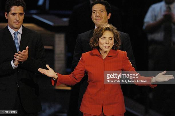 Teresa Heinz Kerry addresses the Democratic convention in Boston's FleetCenter Her sons Chris and Andre look on