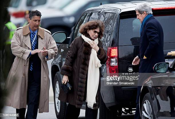 Teresa Heinz Kerry and her husband US Sen John Kerry arrive for the funeral of Sargent Shriver at Our Lady of Mercy Catholic Church January 22 2011...